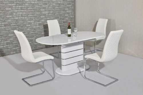 GA TIRELLI Oval EXTENDING 160 / 200 cm White Gloss Dining Table & Chairs